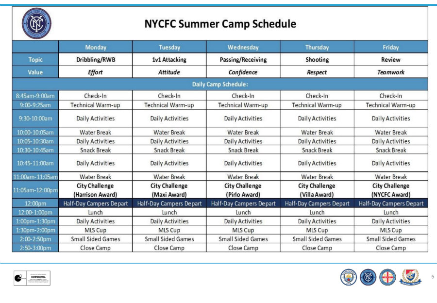 NYCFC Summer Camp Schedule